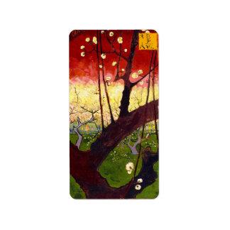 Van Gogh Flowering Plum Tree After Hiroshige Label