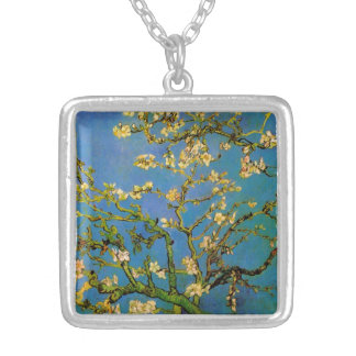 Van Gogh Flowers Art, Blossoming Almond Tree Square Pendant Necklace