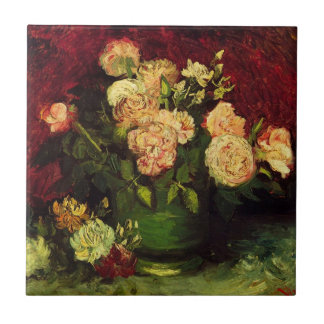 Van Gogh Flowers Art, Bowl with Peonies and Roses Small Square Tile