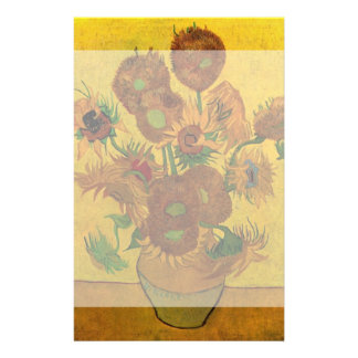 Van Gogh Flowers, Vase with 15 Sunflowers Customized Stationery