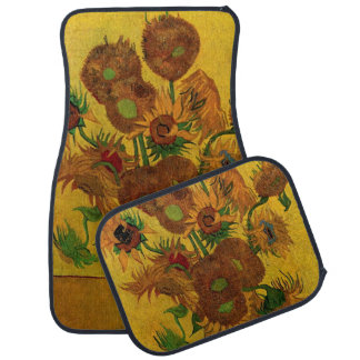 Van Gogh Flowers, Vase with 15 Sunflowers Floor Mat