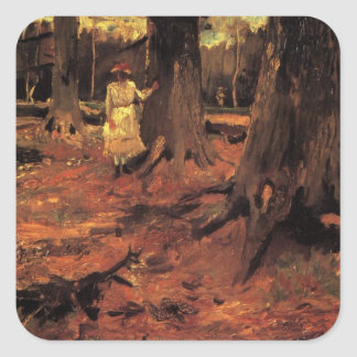 Van Gogh; Girl in White in the Woods, Vintage Art Square Sticker