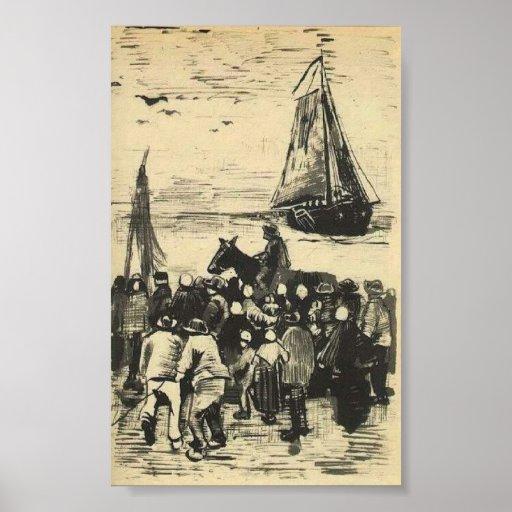 Van Gogh - Group of People on the Beach Print