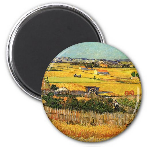 Van Gogh: Harvest at La Crau with Montmajour Fridge Magnets