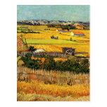 Van Gogh Harvest La Crau, Montmajour in Background Post Card