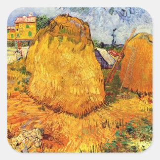 Van Gogh Haystacks in Provence, Vintage Farm Art Square Sticker