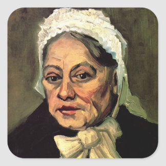 Van Gogh, Head of Old Woman, White Cap (Midwife) Square Sticker