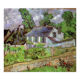 Van Gogh; Houses in Auvers, Vintage Cottages Print