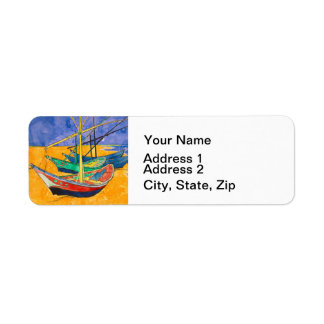 Van Gogh Impressionist Boats Return Address Label