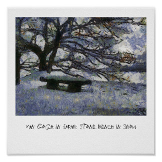 Van Gogh in Japan: Stone Bench in Snow Poster