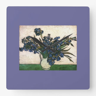Van Gogh Iris Lavendar Square Wall Clock