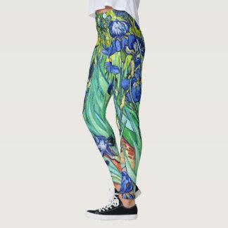 Van Gogh Irises Flowers All Over Print Leggings