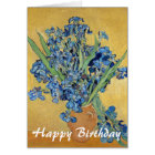 Van Gogh Irises Vase Blue Flowers Art Birthday Card