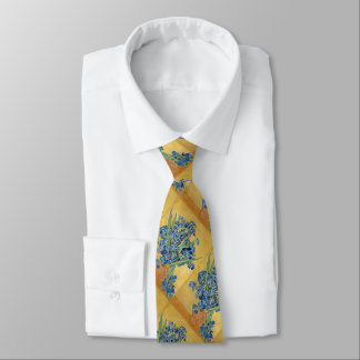 Van Gogh Irises Vase Yellow Background Flowers Art Tie