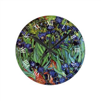 Van Gogh Irises, Vintage Garden Fine Art Wallclock