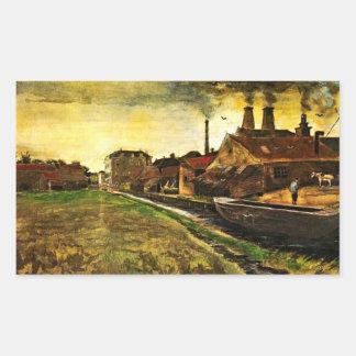 Van Gogh; Iron Mill in The Hague, Vintage Business Rectangular Sticker