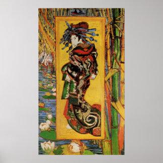 Van Gogh Japanese Courtesan Oiran Vintage Portrait Poster