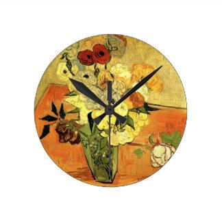 Van Gogh Japanese Vase with Roses and Anemones Clocks