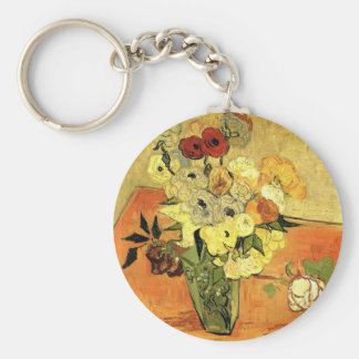 Van Gogh Japanese Vase with Roses and Anemones Key Ring