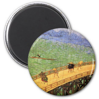 Van Gogh - Japonaiserie: Bridge In The Rain 2 Inch Round Magnet