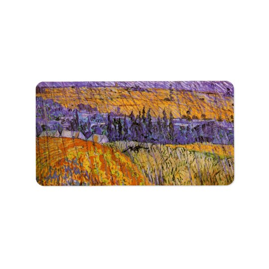 Van Gogh Landscape at Auvers in Rain, Fine Art Address Label