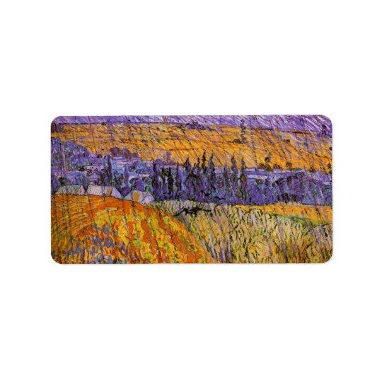 Van Gogh Landscape at Auvers in Rain, Fine Art Label