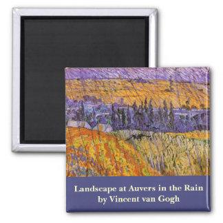 Van Gogh Landscape Auvers in Rain, Vintage Weather Magnets