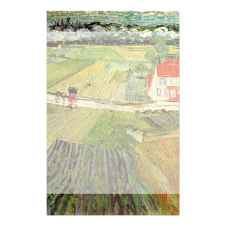 Van Gogh Landscape Carriage and Train, Fine Art Personalized Stationery