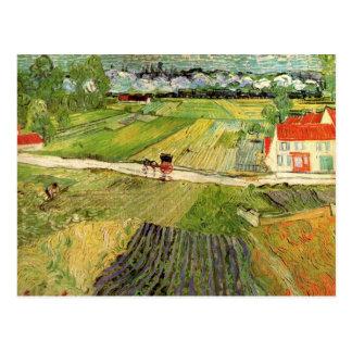 Van Gogh Landscape Carriage and Train, Fine Art Postcard