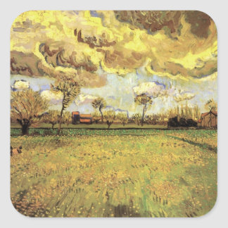 Van Gogh Landscape Under Stormy Sky, Vintage Farm Square Sticker