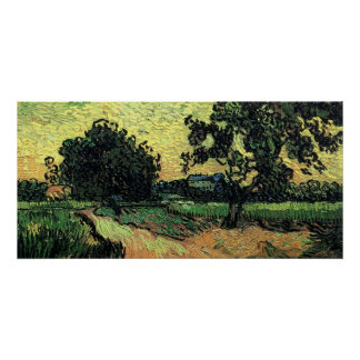 Van Gogh Landscape w Chateau of Auvers at Sunset Print