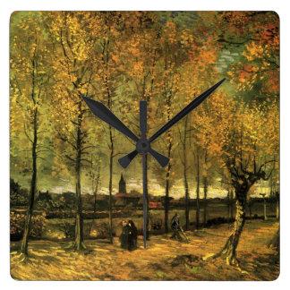 Van Gogh Lane with Poplars, Vintage Fine Art Wall Clocks
