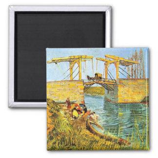 Van Gogh Langlois Bridge at Arles w Women Washing Square Magnet