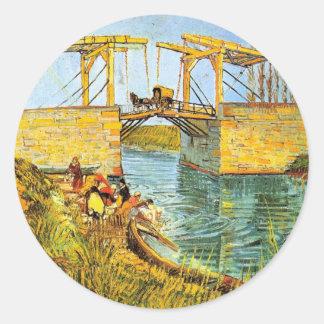 Van Gogh; Langlois Bridge at Arles w Women Washing Round Sticker