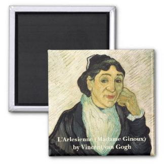 Van Gogh, L'Arlesienne (Madame Ginoux) Portrait Square Magnet