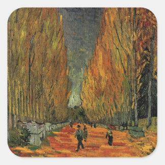 Van Gogh; Les Alyscamps (Cemetery), Vintage Art Square Sticker