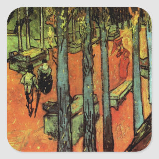 Van Gogh; Les Alyscamps: Falling Autumn Leaves Square Sticker