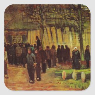 Van Gogh, Lumber Sale, Vintage Impressionism Art Square Sticker