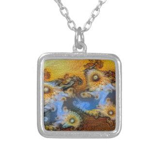 Van Gogh Mandelbrot Fractal Silver Plated Necklace