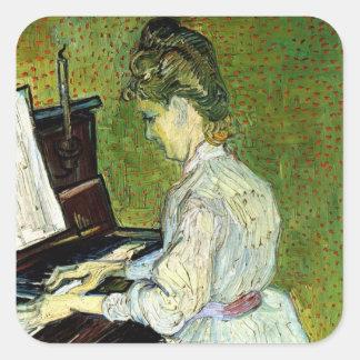 Van Gogh; Marguerite Gachet at Piano, Vintage Art Square Sticker