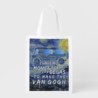 Van Gogh Monet Degas Funny Artist Pun Starry Night Reusable Grocery Bag