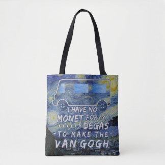 Van Gogh Monet Degas Funny Artist Pun Starry Night Tote Bag