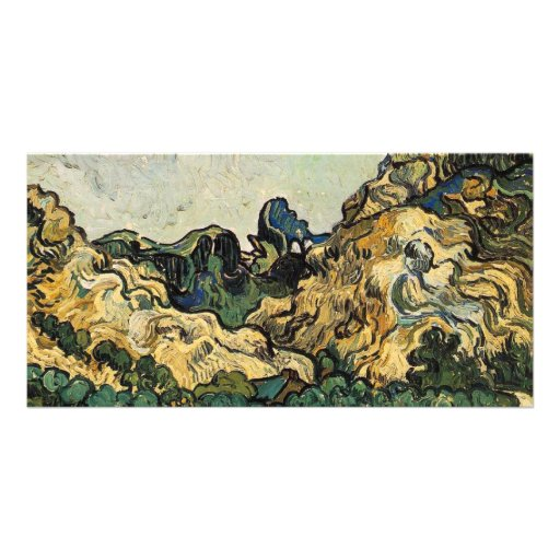 VAN GOGH - MOUNTAINS AT SAINT-REMY CUSTOMIZED PHOTO CARD