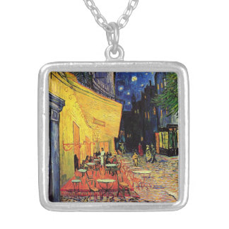 Van Gogh Night Cafe Terrace on the Place du Forum Square Pendant Necklace