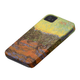 Van Gogh Olive Grove Orange Sky, Vintage Fine Art iPhone 4 Covers