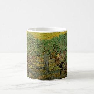Van Gogh Olive Grove Picking Figures, Fine Art Basic White Mug