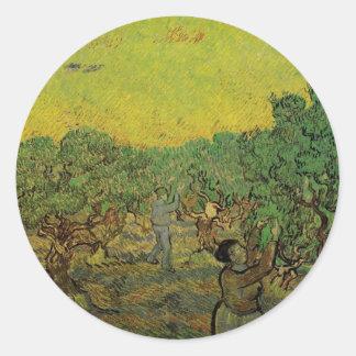 Van Gogh Olive Grove Picking Figures, Vintage Art Round Sticker