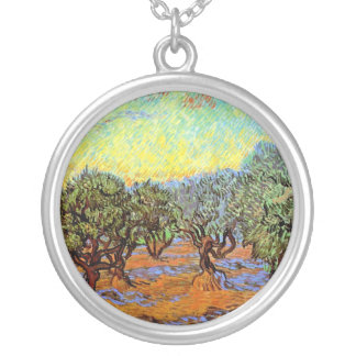 Van Gogh - Olive Grove with Orange Sky Silver Plated Necklace