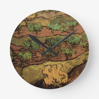 Van Gogh Olive Trees Against a Slope of a Hill Wall Clock