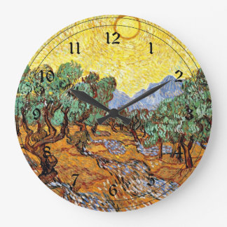 Van Gogh: Olive Trees with Yellow Sky and Sun Wall Clocks